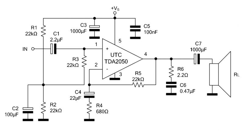 Esquema Do Amplificador Com Tda2050