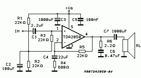 amplificador tda 2050 esquema 450x249 Circuito de amplificador de potência com tda2050 para 32 watts tda estéreo Circuitos Áudio