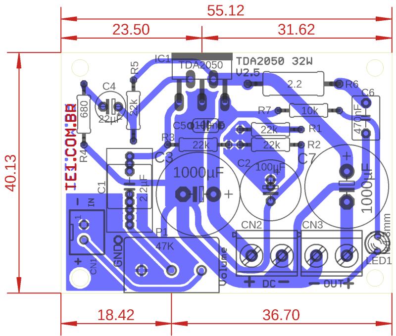 Amplificador Tda 2050 Layout 1 Tda2050 Amplificador Tda2050 Circuito Amplificador De Potência 32 Watts