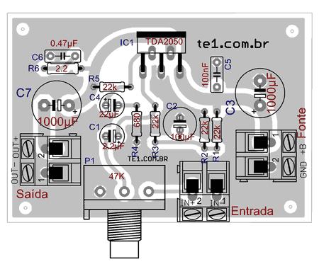 amplificador tda 2050 layout 450x248 Circuito de amplificador de potência com tda2050 para 32 watts tda estéreo Circuitos Áudio