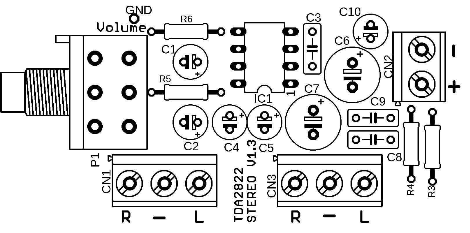 tda2822 amplificador potencia Amplificador estéreo com CI TDA2822 com controle de volume 1W tda Circuitos Áudio
