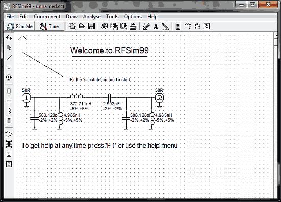 RFSim99 rf simulator tela Download RFSim99   simulador para projetos de RF e filtros Transmissores Fm Transmissores e RF Transmissores Software de eletrônica Simulador Download Desenho de filtros Desenho de esquemas Circuitos