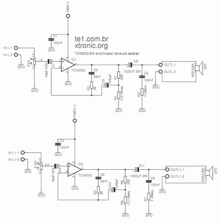 amp TDA2003 Stereo schematic1 443x450 Circuito de amplificador de áudio estéreo com circuito integrado tda 2003 2 x 10 watts   Completo com desenho da placa + fonte tda Fontes estéreo Circuitos Áudio Amplificadores amplificador de audio