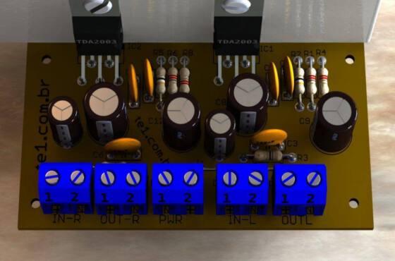 amplificador potencia tda2003 estéreo