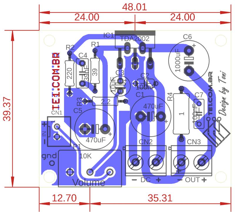 Placa 2 amplificador potencia ci tda2002 tda2002 amplificador tda2002 circuito de amplificador potência 10w