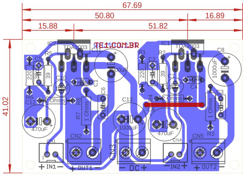 Amplificador tda2003 estéreo com pcb - 2 x 10w