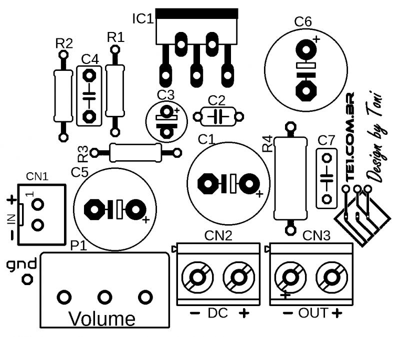 Silk amplificador potencia ci tda2002 1 tda2002 amplificador tda2002 circuito de amplificador potência 10w