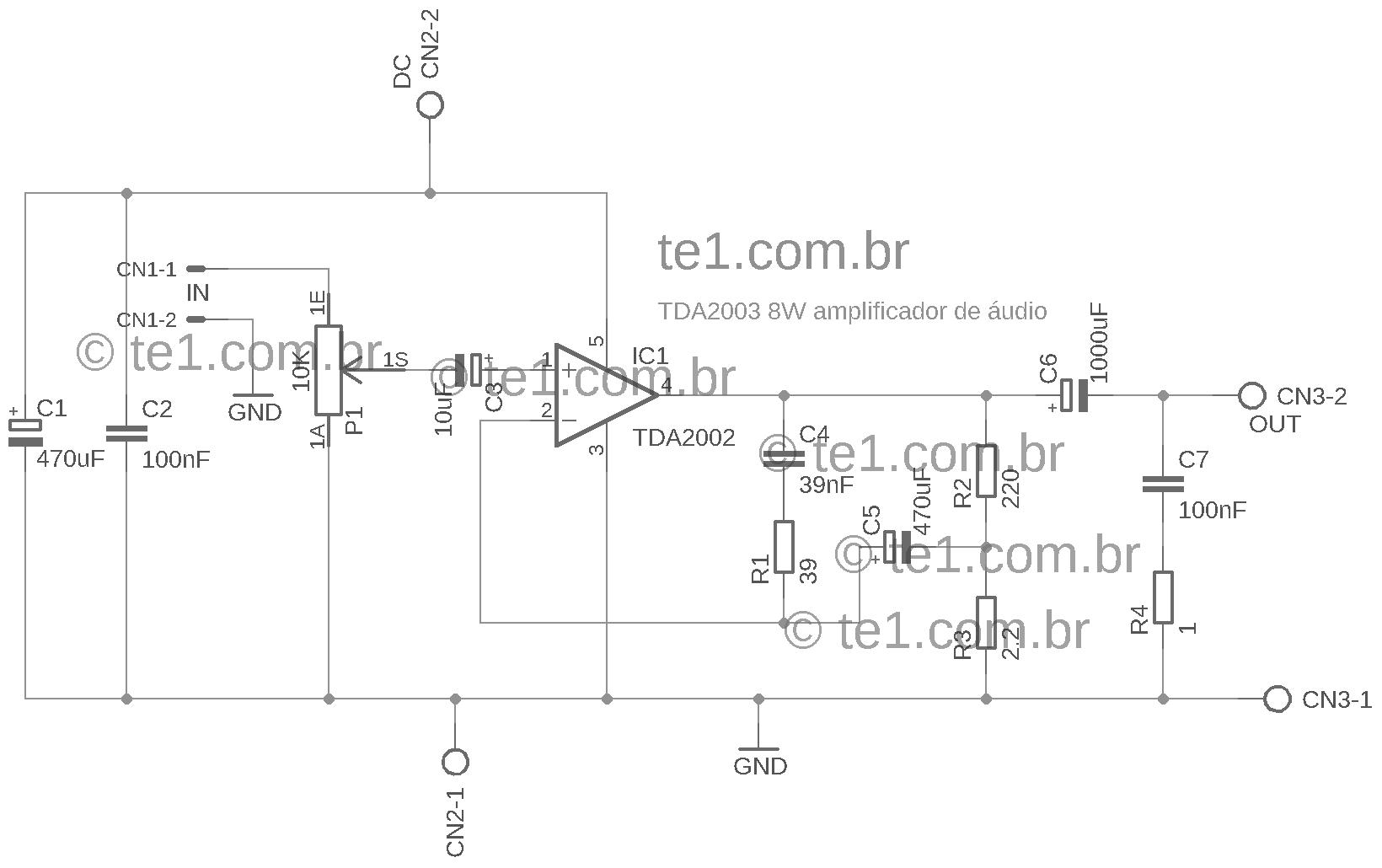 Circuito De Amplificador Udio Potncia Com Tda2002 8 Watts Mono Audio Amplifier Circuit Using Placa Raio X Silk Potencia Ci 1 700x616