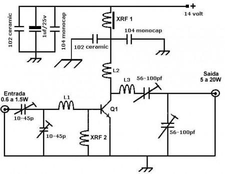 circuito do amplificador 450x347 Amplificador de RF banda larga de até 20Watts para FM e VHF