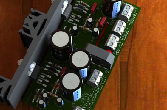 circuito de amplificador de potência de áudio estéreo com circuito integrado lm1875 - 2 x 20 watts com circuito da fonte