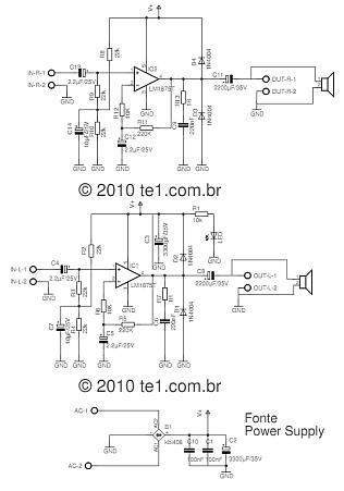 lm1875 stereo power amplifier circuit schematic 316x450 Circuito amplificador de potência estéreo com lm1875 20 watts LM estéreo Circuitos Áudio