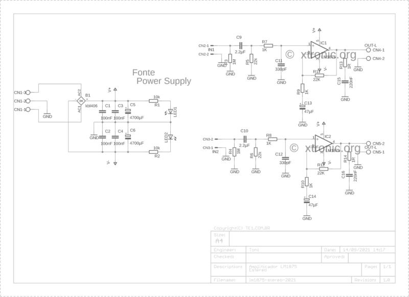 Lm1875t esquema do amplificador de potência com circuito integrado lm1875