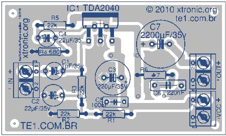 tda2040 audio amplifier componentes eagle 450x272 Circuito de amplificador com CI TDA 2040 20 Watts tda Circuitos Áudio