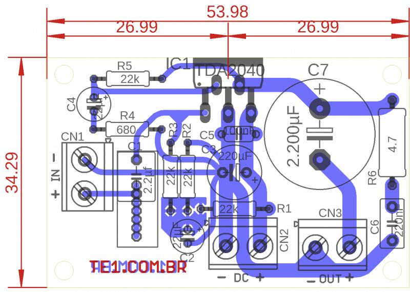 Tda2040 circuito de amplificador potência 20 w
