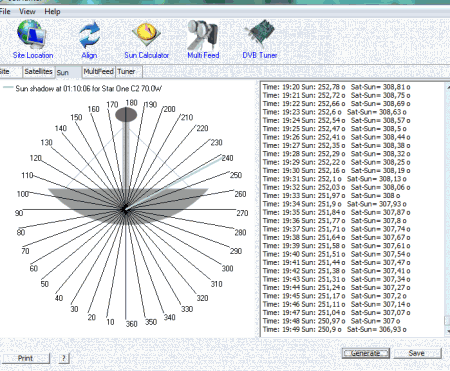 sathunter tela azimute sol 450x371 Download SatHunter   Apontamento de antenas e LNB carona tv digital Software de eletrônica Simulador satélite parabólica Download dicas como ligar uma antena parabolica Dicas Calculadoras