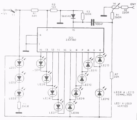 VU sequencial de leds CI IAA 180 450x395 VU sequencial de leds CI IAA 180 Dicas Circuitos Áudio