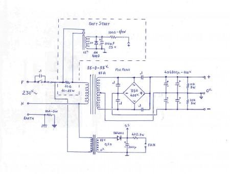 Circuito da fonte de alimentação para o circuito do Amplificador de 700 Watts com 2SC5200 e 2SA1943 by Fernando Garcia
