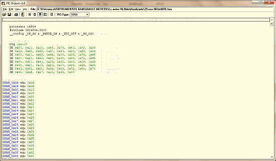 Download PIC-Disassembler - converte um arquivo hexadecimal em um arquivo ASM.