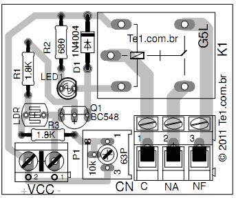 sensor sombra layout componente Circuito de sensor de sombra para iluminação com LDR led Iluminação Controle Circuitos