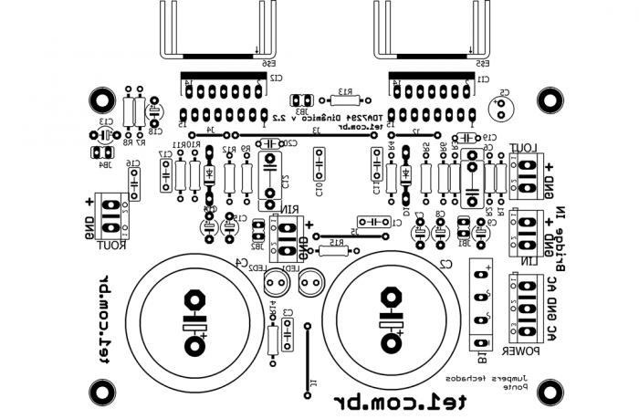 , Circuito de amplificador de potência dinâmico com TDA7294 em ponte