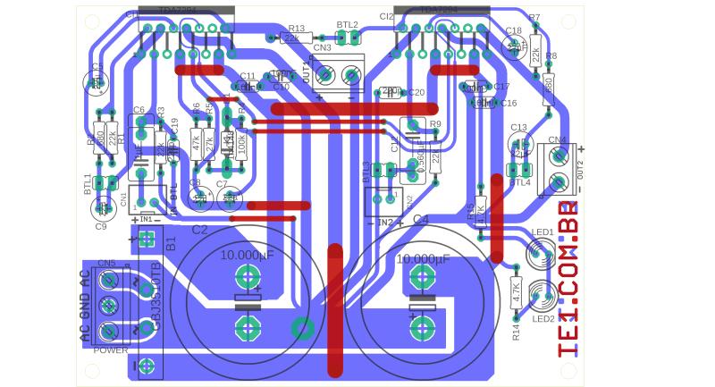 Circuito de amplificador de potência dinâmico com tda7294 em ponte tda7294 amplificador de potência estéreo
