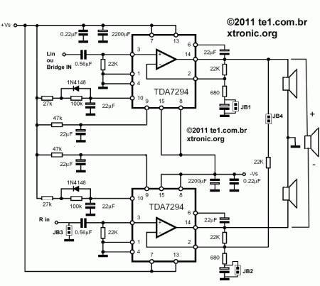 tda7294 esquema amplificador ponte estereo 450x403 Circuito de amplificador de potência dinâmico com TDA7294 em ponte tda7294 tda Circuitos Áudio