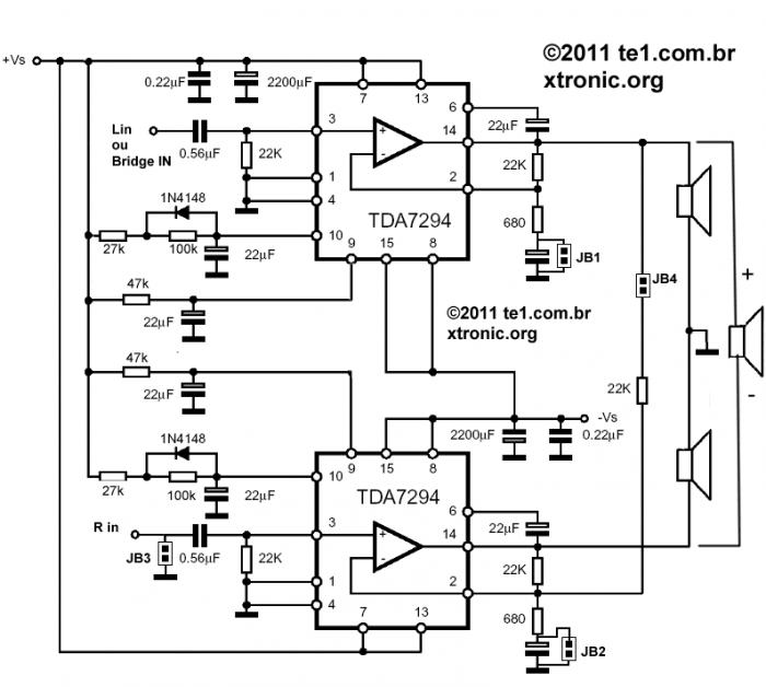 Esquema do circuito do amplificador dinâmico utilizando tda 7294 - ponte 180watts ou estéreo 2 x 80watts - clique para ampliar