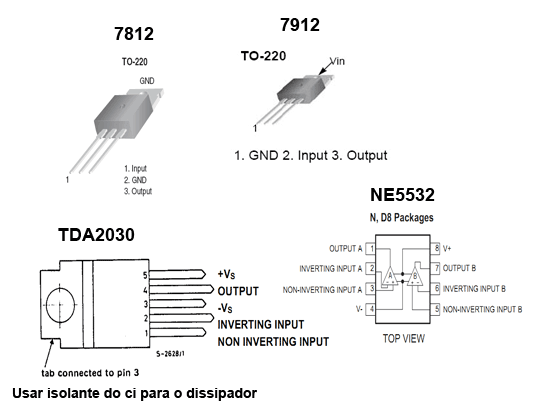 Aspecto de alguns componentes utilizados nessa montagem TDA2030, NE5532, 7812, 7912Aspecto de alguns componentes utilizados nessa montagem TDA2030, NE5532, 7812, 7912