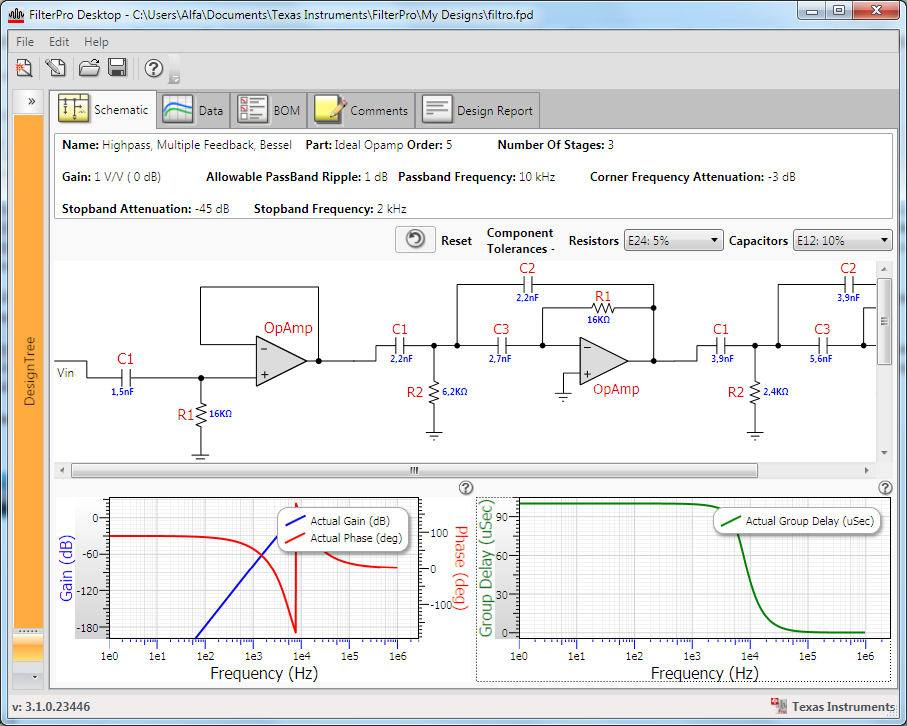 Download FilterPro software gratuito para projetos de filtros analógicos ativos by Texas Instruments