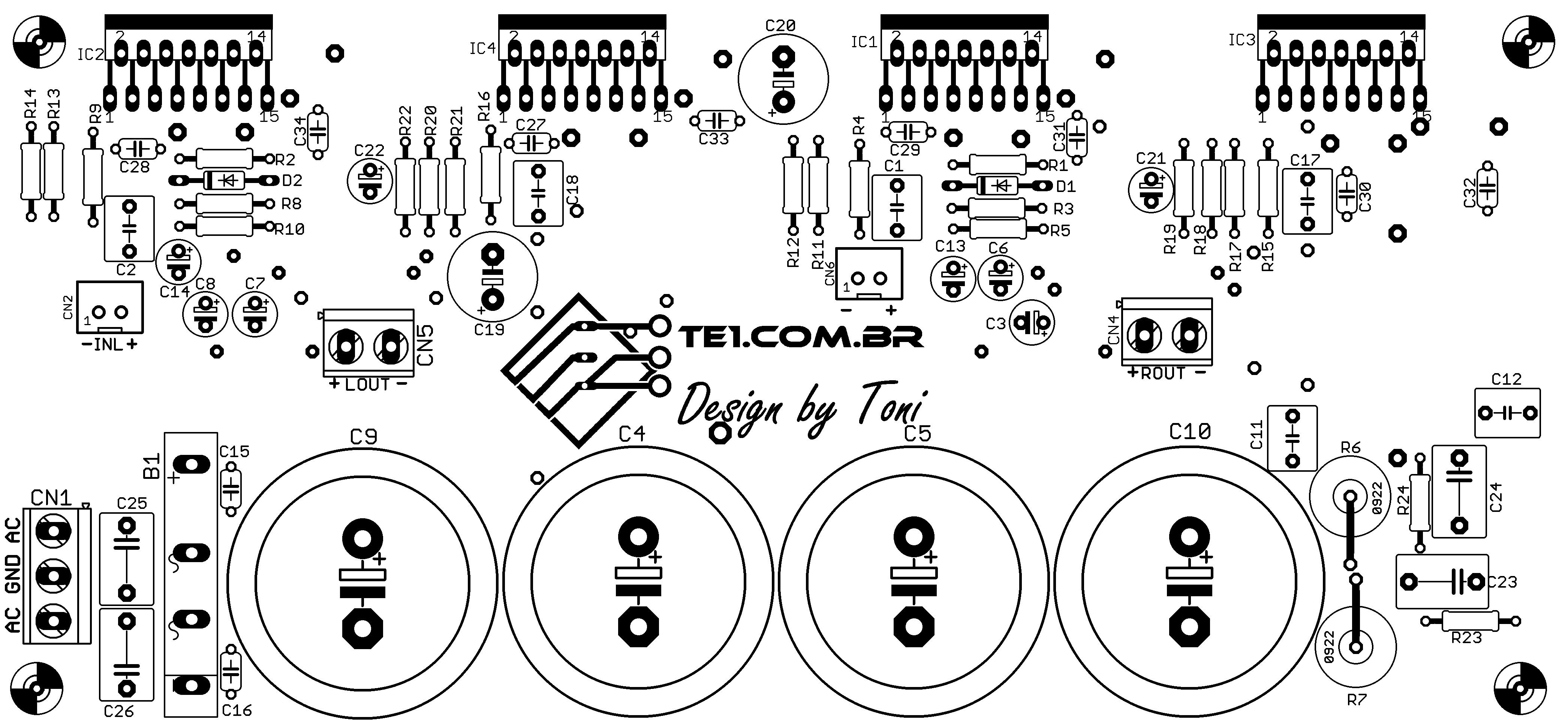 amplificador tda7294 pcb componente Brutus   Amplificador de potência estéreo com TDA7294 em ponte (bridge) tda7294 tda Circuitos Áudio