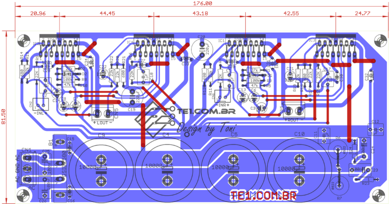 Amplificador Tda7294 Pcb Estereo Brutus Tda7294 Amplificador Amplificador Brutus - Tda7294 Amplificador De Potência Estéreo Em Ponte (Bridge)