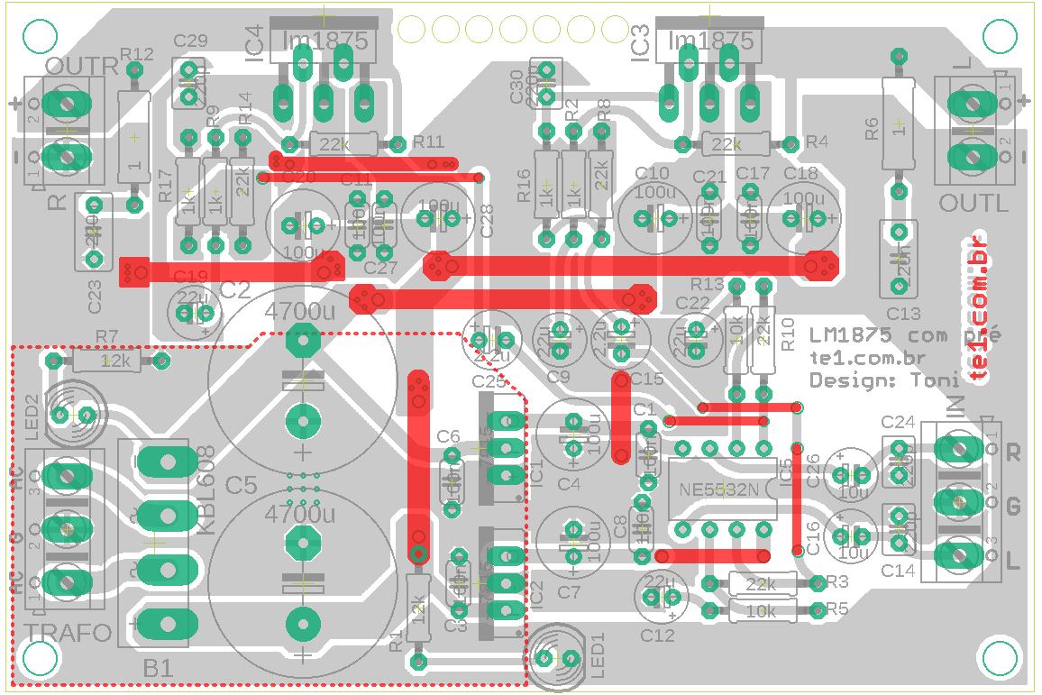 Para quem não quer utilizar placa de dupla face, nas marcas vermelhas fazer ligação por fios