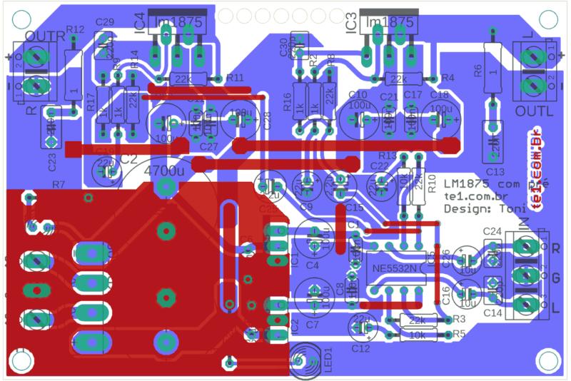 Lm1875 amplificador estereo comp 1 lm1875 amplificador, amplificador de áudio, amplificador de potência, áudio, circuitos, lm, lm1875, lm1875t, potência, pre amplificador som ambiente, pré-amplificadores lm1875 amplificador de potência estéreo com pré lm1875t