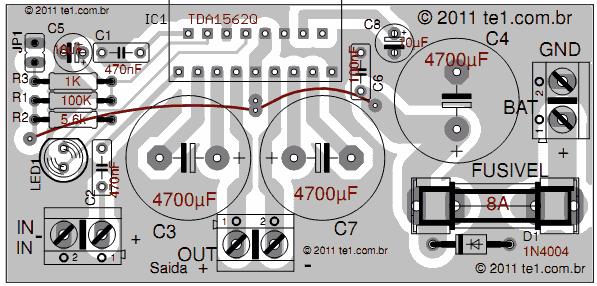 Sugestão de placa de circuito impresso para montagem do circuito do amplificador de áudio com TDA 1562