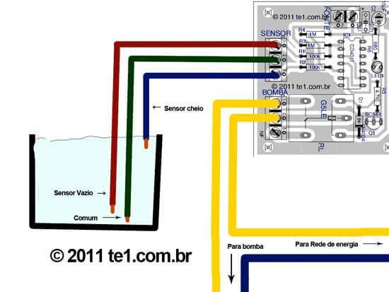 , Circuito de controle automático para bomba de agua com sensor para poço