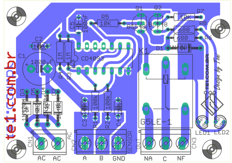 Controle_Nivel_Caixa_Dagua_Circuito Sugestão De Placa De Circuito Impresso Para Montagem Do Controle Automático Bomba De Água