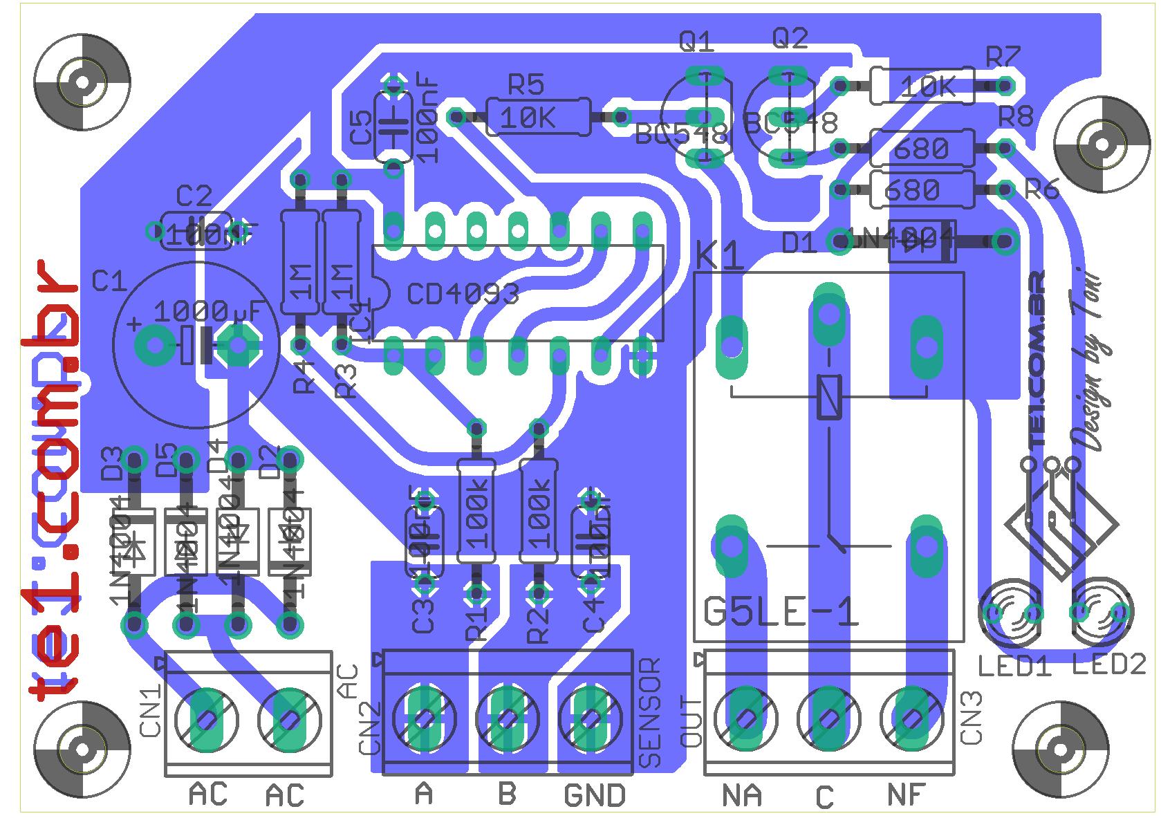 controle nivel caixa agua componentes 1 Circuito de controle automático de bomba  dágua e nível de caixa dágua sensores Controle Circuitos