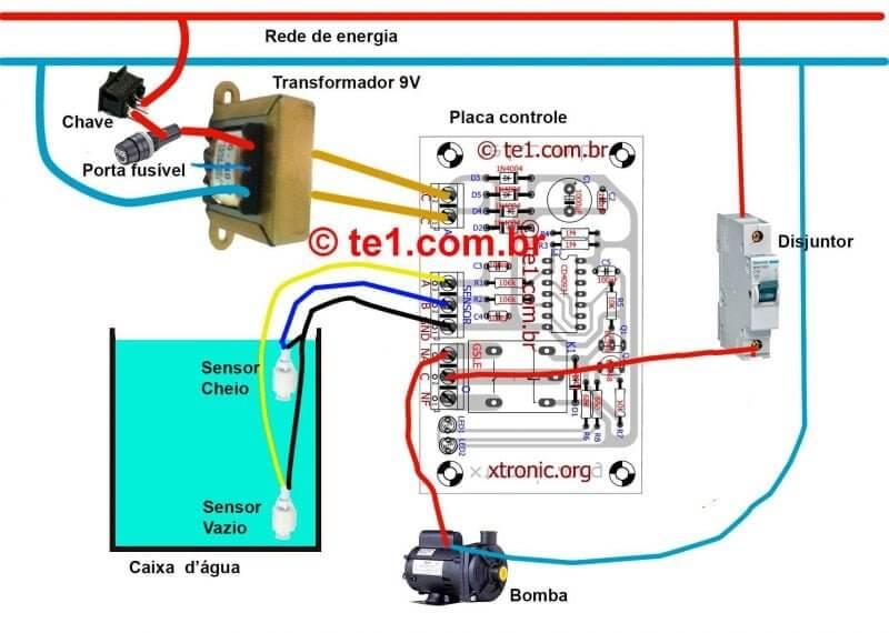 Sensor_Bomba_Dagua_Esquema_Ligacao Esquema Ilustrativo De Ligação Do Sensores Do Sistema De Bomba Automática