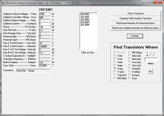 Download programa com catálogo de Transistores de Saída Horizontal guia de equivalências