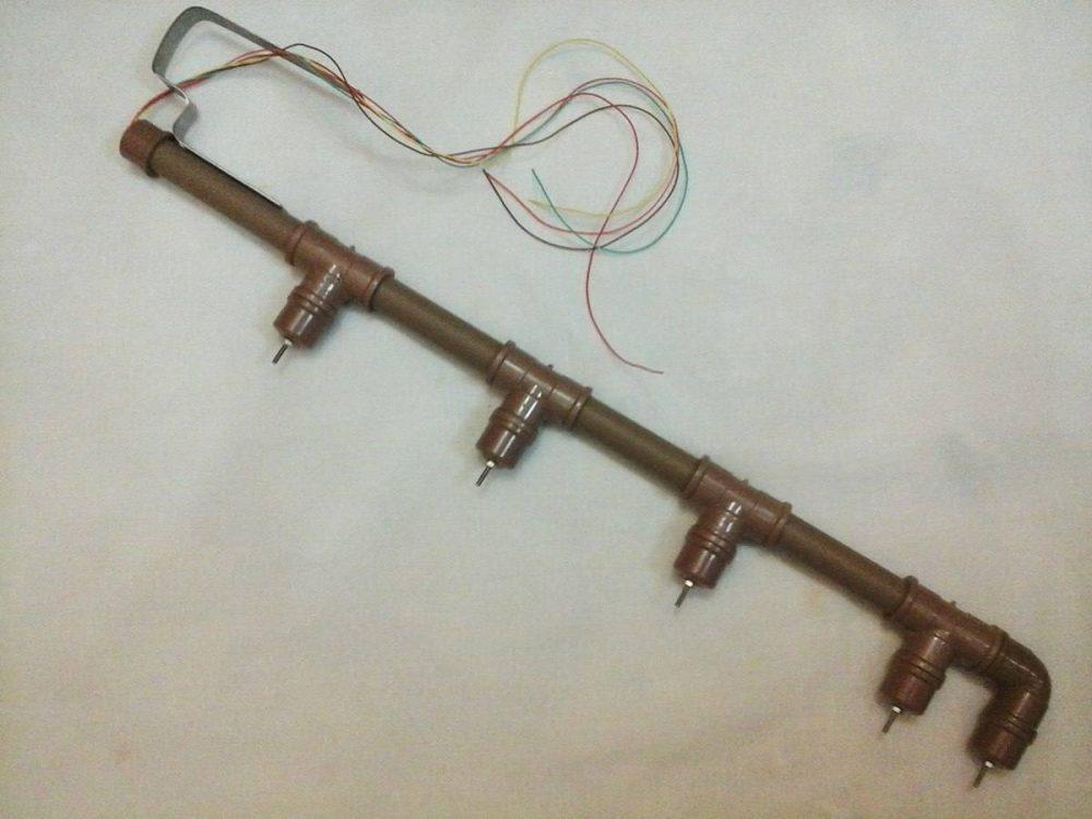Exemplo de sensor caseiro com canos e parafusos