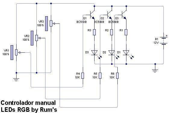 controlador led rgb esquema Controlador para LEDs RGB