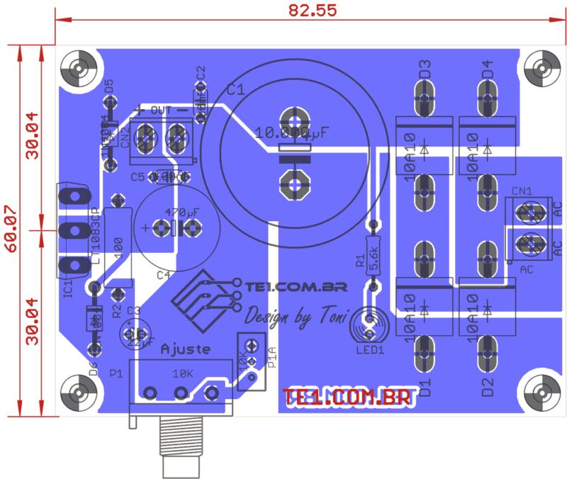 Sugestão de placa de circuito impresso para montagem da fonte ajustável com lt1083 vista dos componentes