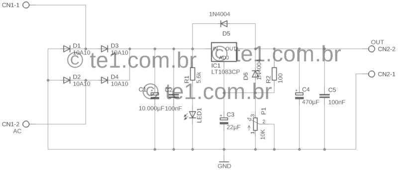 Esquema da fonte de alimentação regulada ajustável com ci lt1083 by linear technologies (analog devices)