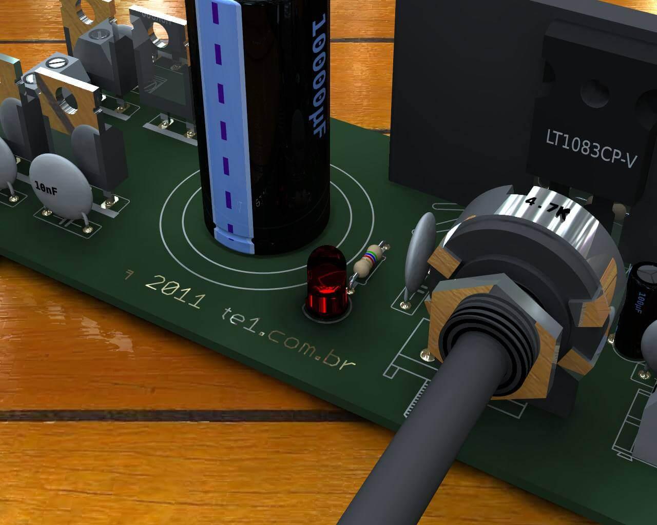 Circuito de fonte de alimentação ajustável de alta corrente com LT1083 - 1.2 a 30 Volts por 7.5 Amperes