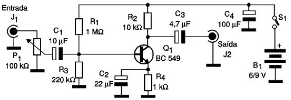 pre amplificador bc548 audio Circuito de pré amplificador de áudio com transistor BC549 Pré amplificadores Circuitos Áudio