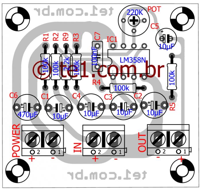 Pre amp Lm358 2 700x659 Circuito de pré amplificador de áudio com LM358   Op Amp duplo Pré amplificadores Circuitos Áudio