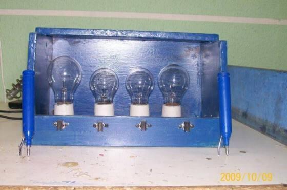 Aspecto de uma protótipo de lampadas séries montado pelo autor
