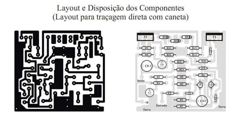 Placa de circuito impresso lkista de material amplificador pl1050 potência utilizando transistor darlington tip120 e tip125 ou tip122 e tip126