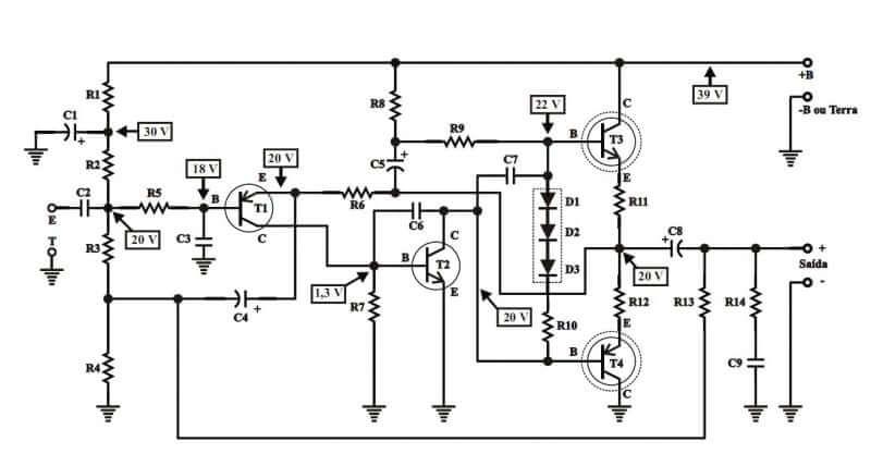 Esquema elétrico placa de circuito impresso lkista de material amplificador pl1050 potência utilizando transistor darlington tip120 e tip125 ou tip122 e tip126