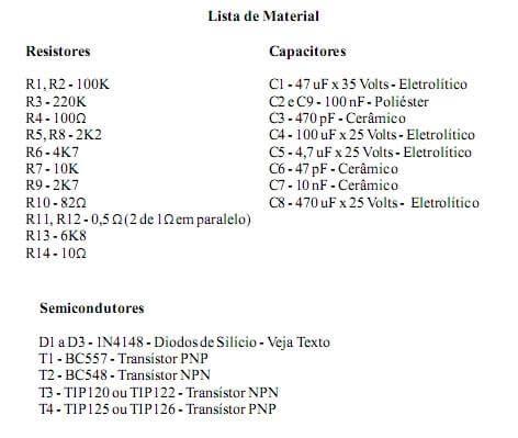 Lkista de material amplificador pl1050 potência utilizando transistor darlington tip120 e tip125 ou tip122 e tip126